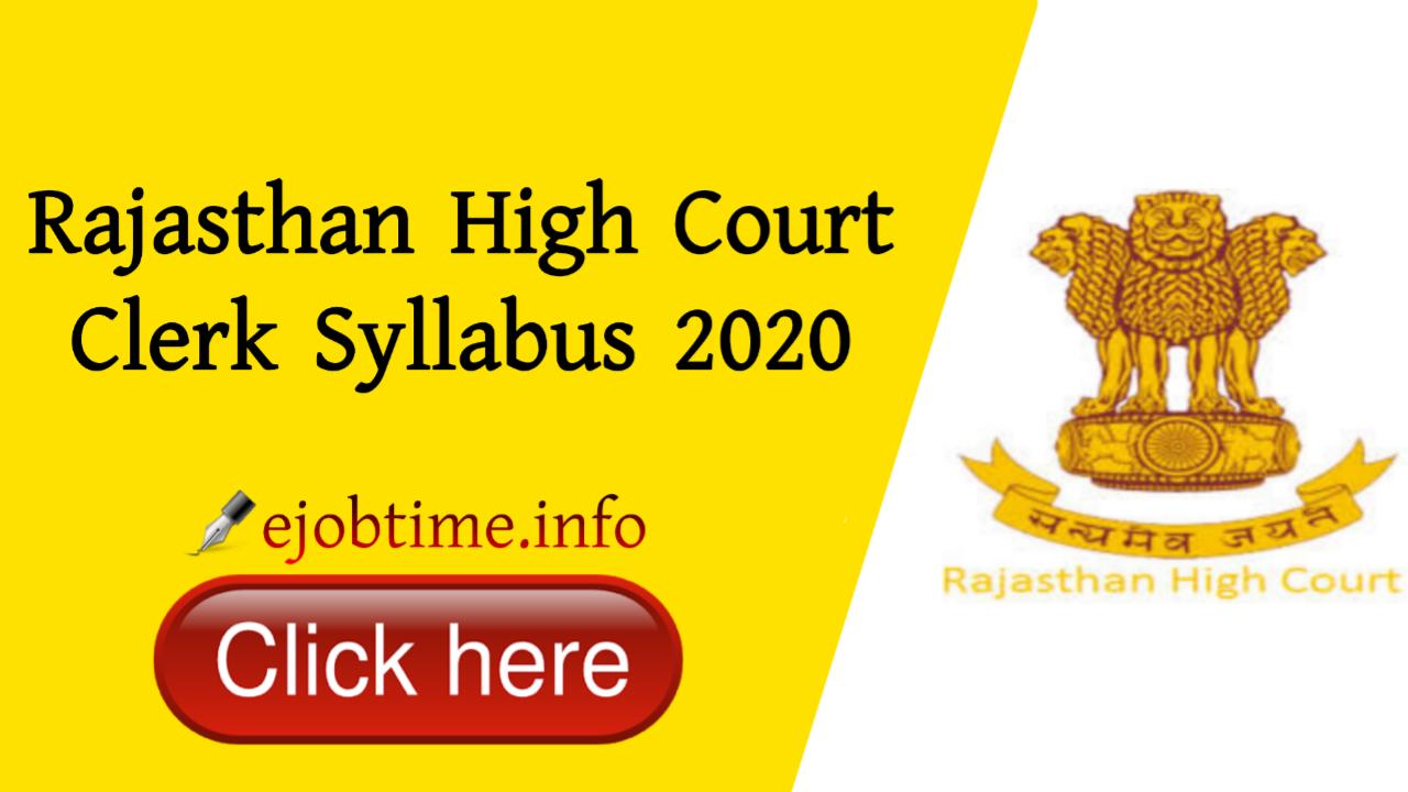 Rajasthan High Court Clerk Syllabus 2020