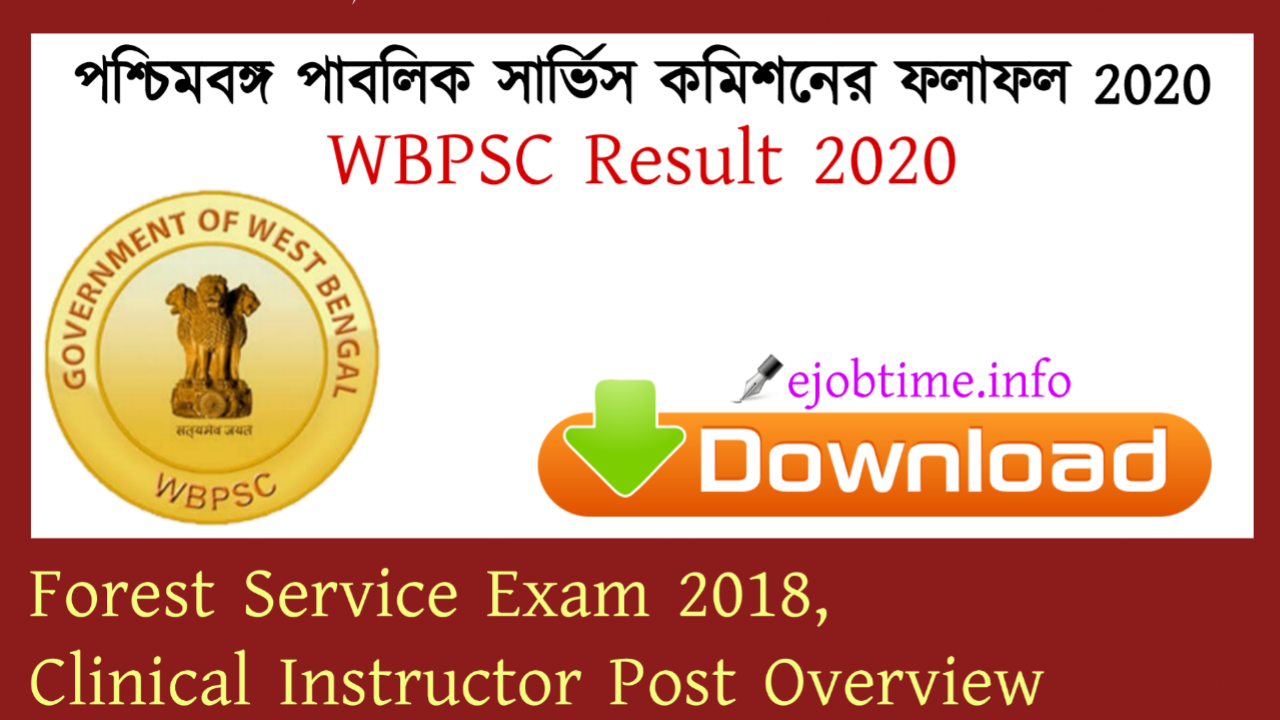 WBPSC Result 2020 Forest Service Exam 2018