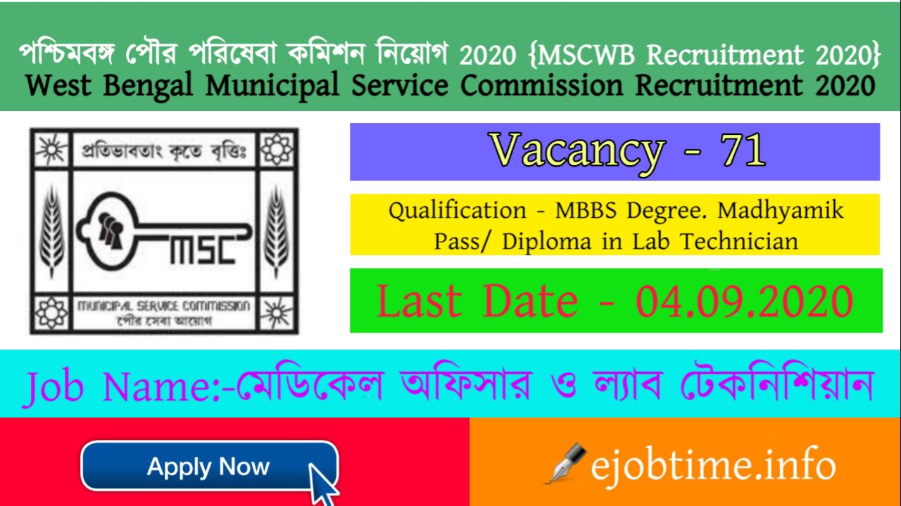 MSCWB Recruitment 2020